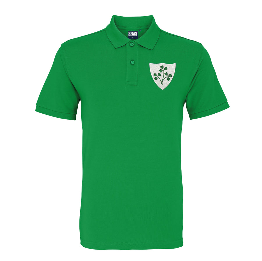 Mens Personalised Vintage Ireland Eire Shamrock Rugby Polo Shirt - Kelly Green