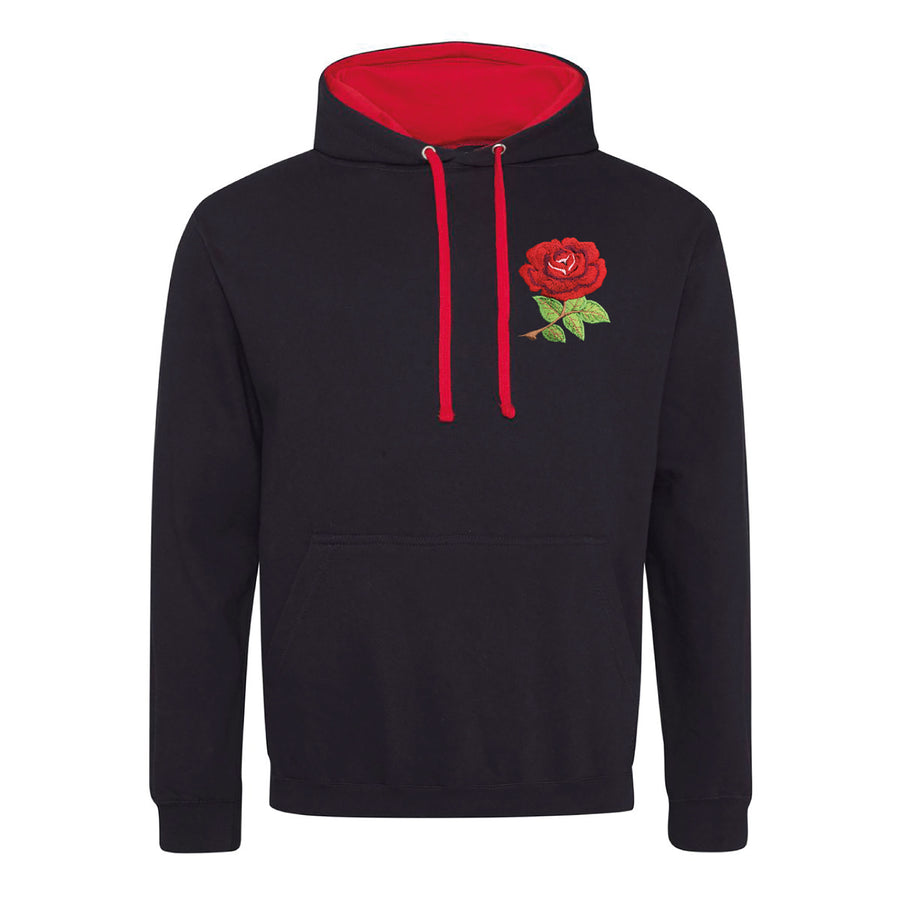 Adult England Retro Style Rugby Hoodie With Embroidered Rose Crest - Jet Black Fire Red