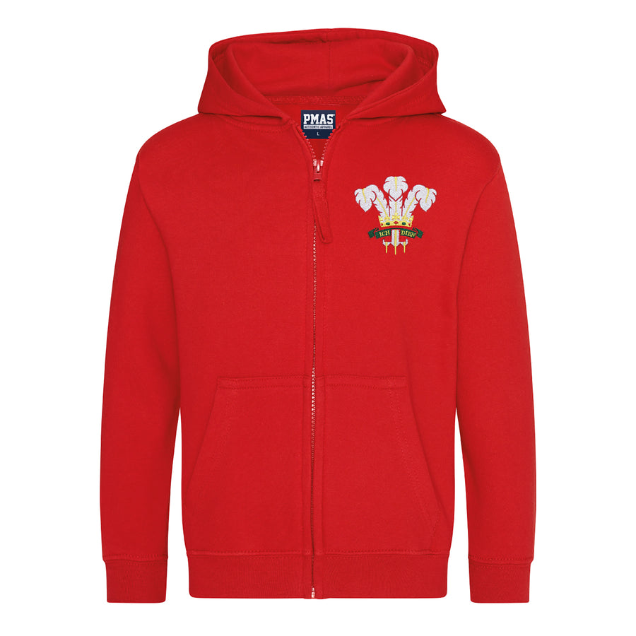 Kids Wales Retro Style Rugby Zipped Hoodie With Embroidered Crest - Fire Red