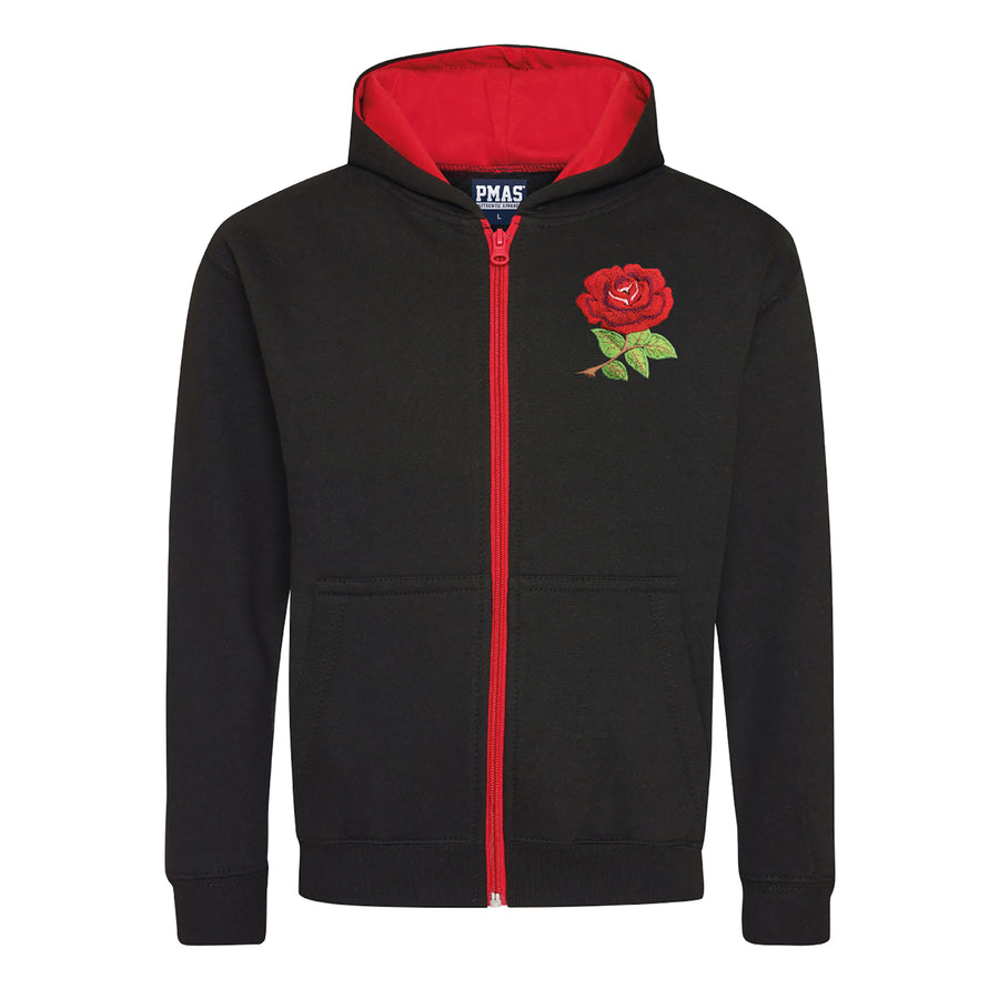 Kids England Retro Style Rugby Zipped Hoodie With Embroidered Crest - Jet Black Fire Red