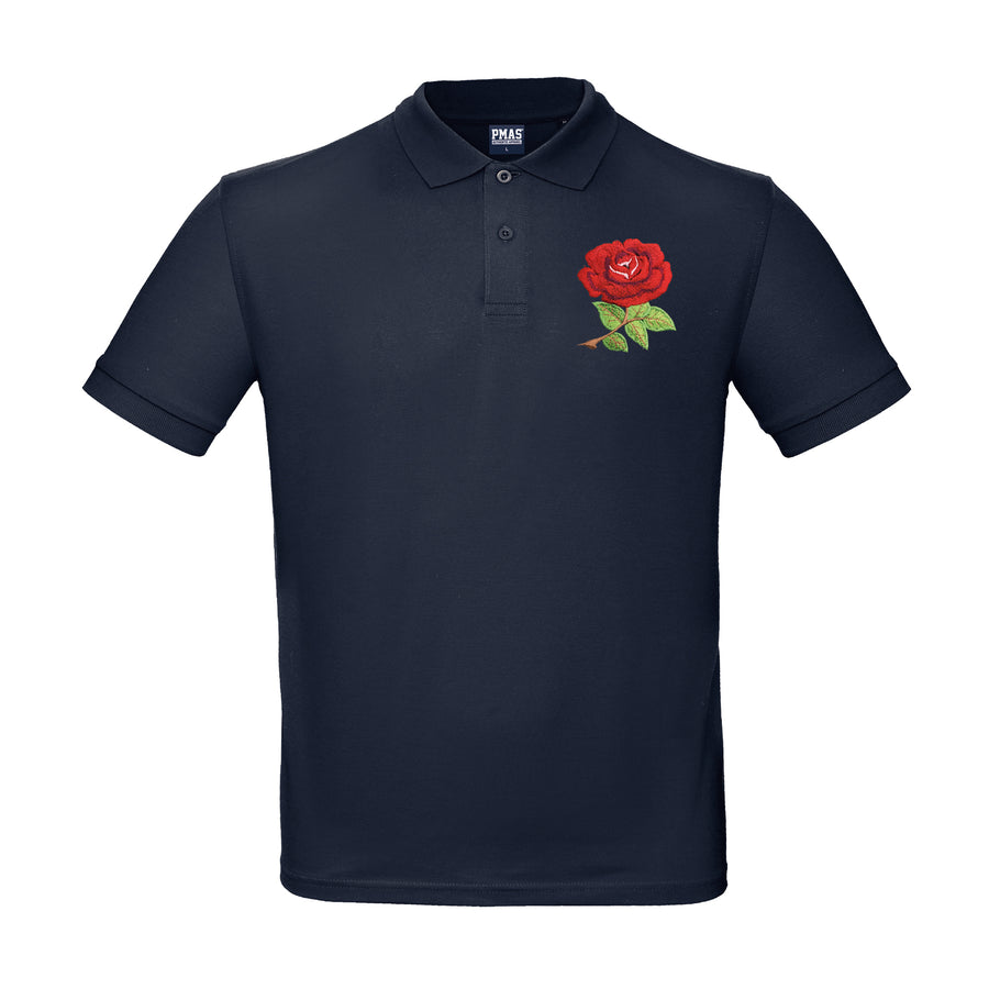 Kids Personalised England Embroidered Crest Rugby Polo Shirt - Navy