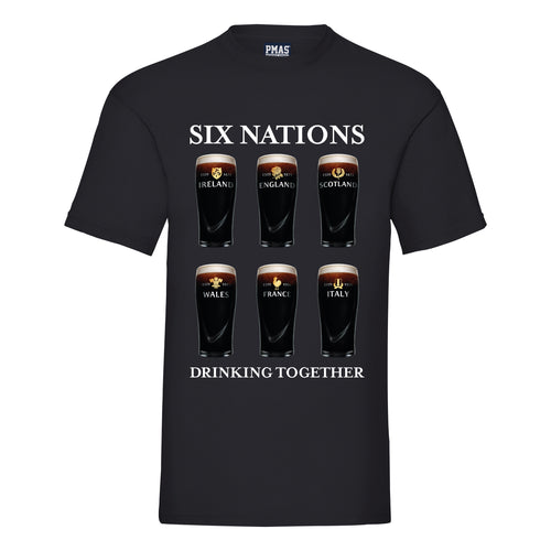 Men's Six Nations Drinking Together Pint Glass Tour t-Shirt Rugby Fan Shirt