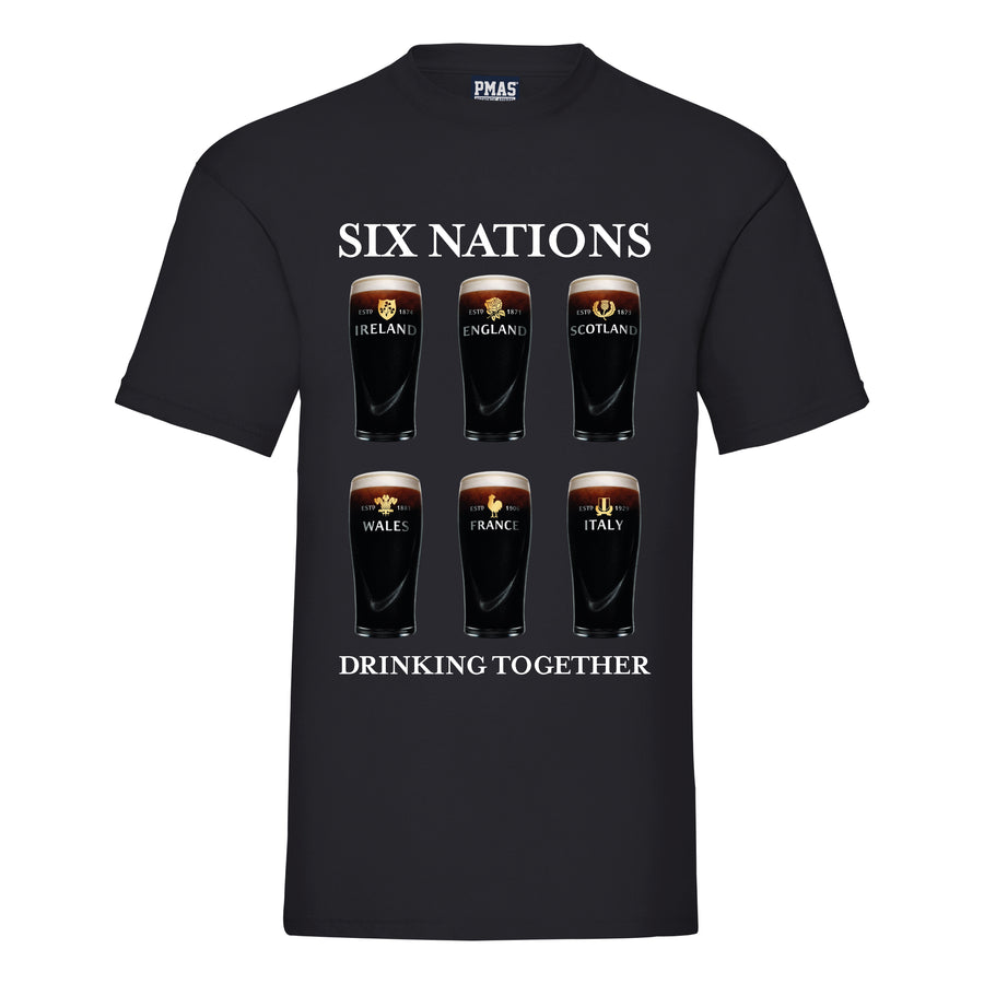 Adult Unisex Six Nations Drinking Together Pint Glass T-Shirt