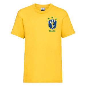 Kids Vintage CBF Brazil Home Football T-shirt With Free Personalisation - Sunflower