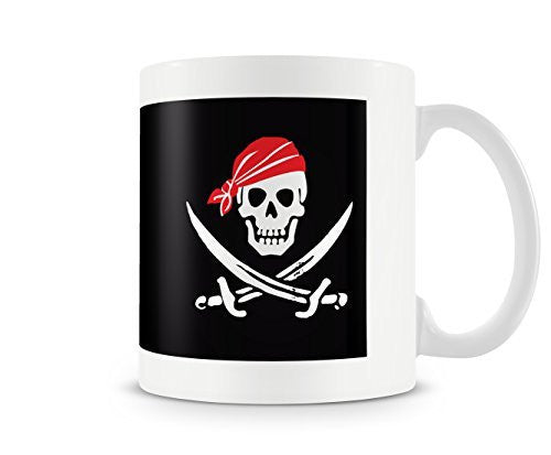 Pirate Skull and Cross Bones Mug - White