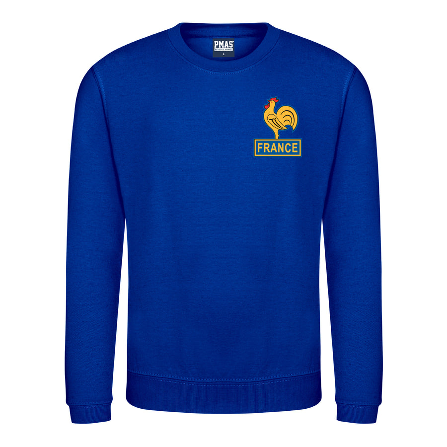 Kids Retro France Les Bleus Embroidered Football Fan Sweatshirt Long Sleeve - Royal