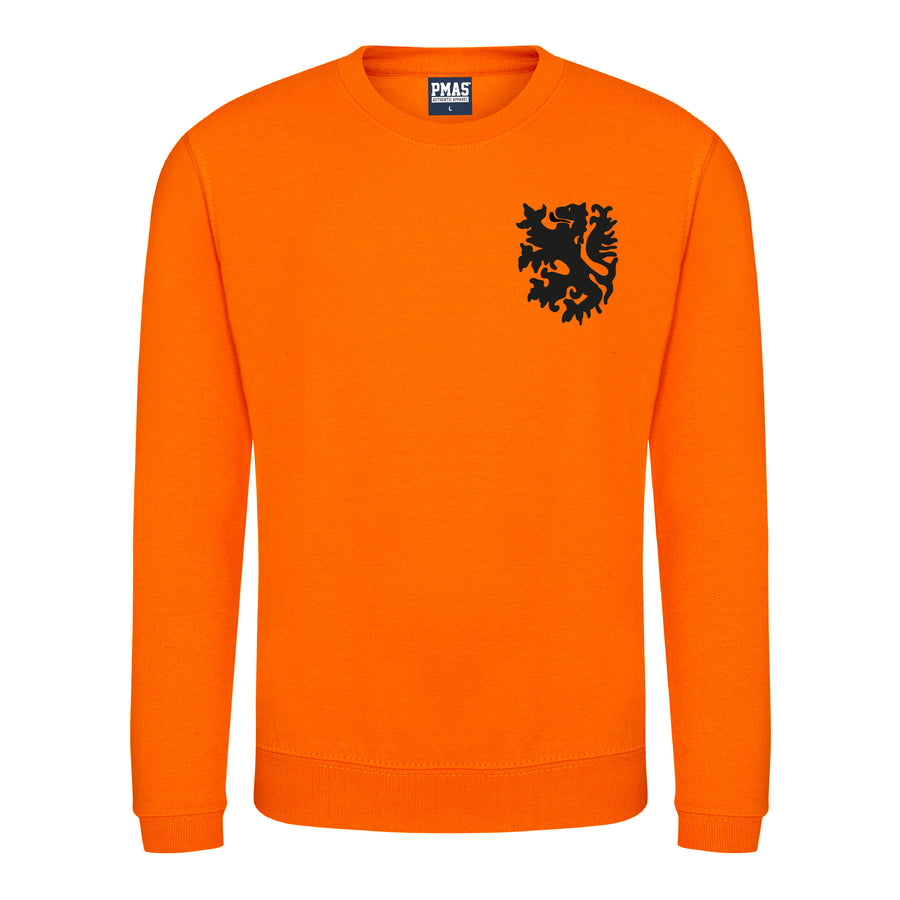 Kids Retro Holland Nederlands Embroidered Football Fan Sweatshirt Long Sleeve - Orange