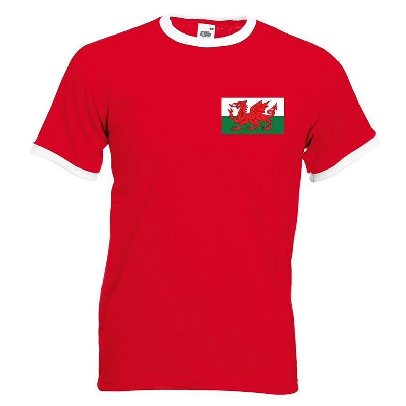 Adults Wales Welsh Cymru Embroidered Retro Football T-Shirt Front