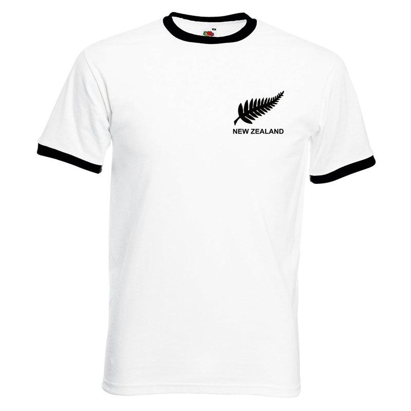 Adults New Zealand Embroidered Retro Football T-Shirt Front