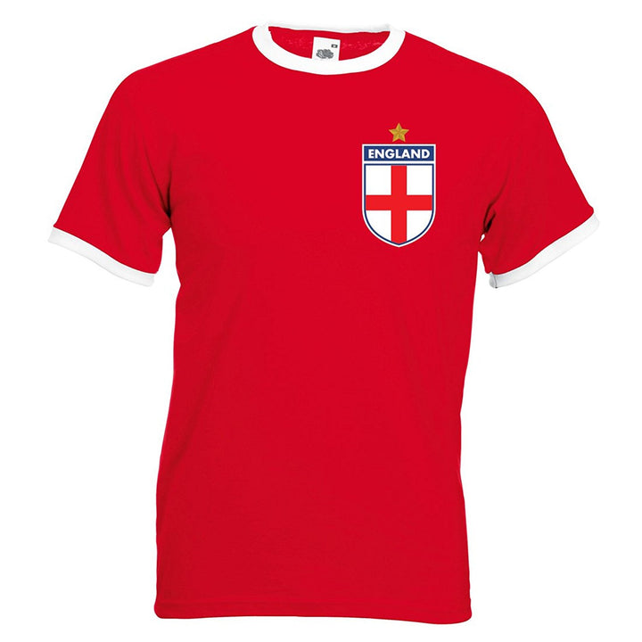 Adults England English World Cup 1966 Embroidered Retro Football T-Shirt - Front