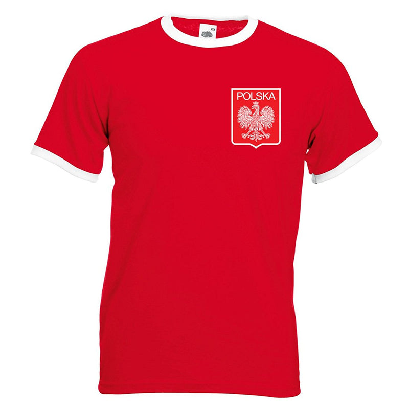 Adults Poland Polska Lewandowski Embroidered Retro Football T-Shirt with Free Personalisation.