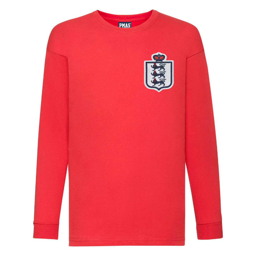 Kids England 1966 World Cup Vintage Football Long Sleeve T-shirt - Red