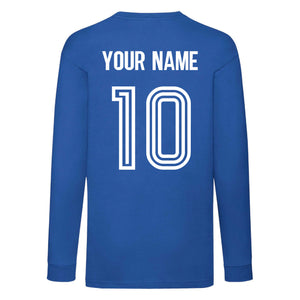 Kids France Home Cotton Football Long Sleeved T-shirt With Free Personalisation - Royal