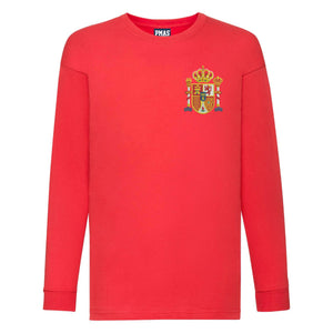 Kids Spain Espana Away Cotton Long Sleeved Football T-shirt With Free Personalisation - Red