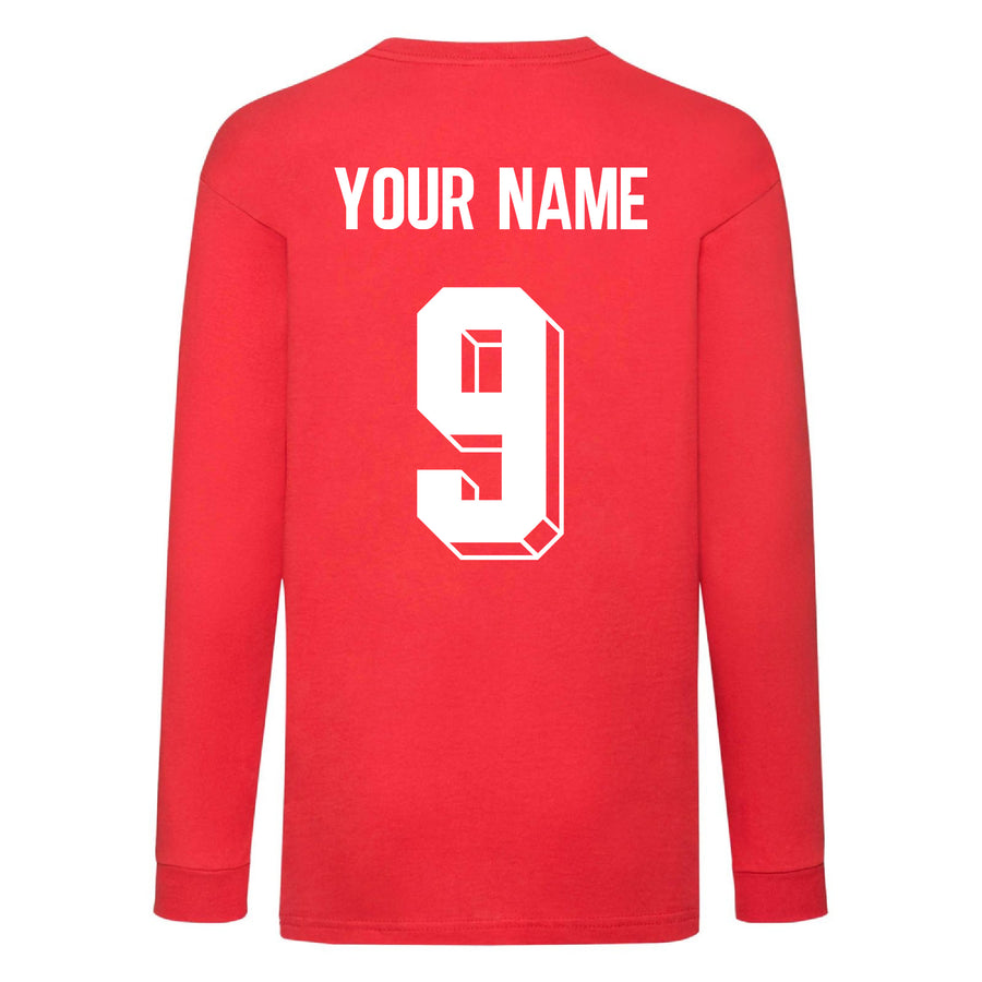 Kids Poland Away Cotton Long Sleeved Football T-shirt With Free Personalisation - Red