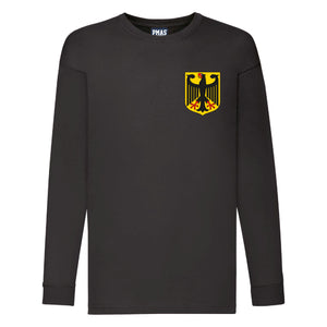 Kids Germany Deutsche Away Cotton Long Sleeved Football T-shirt With Free Personalisation - Black