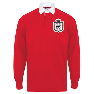 Kids Vintage England Football 3 Lions Long Sleeve Rugby Shirt - Red