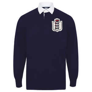 Kids Vintage England Football 3 Lions Long Sleeve Rugby Shirt - Navy