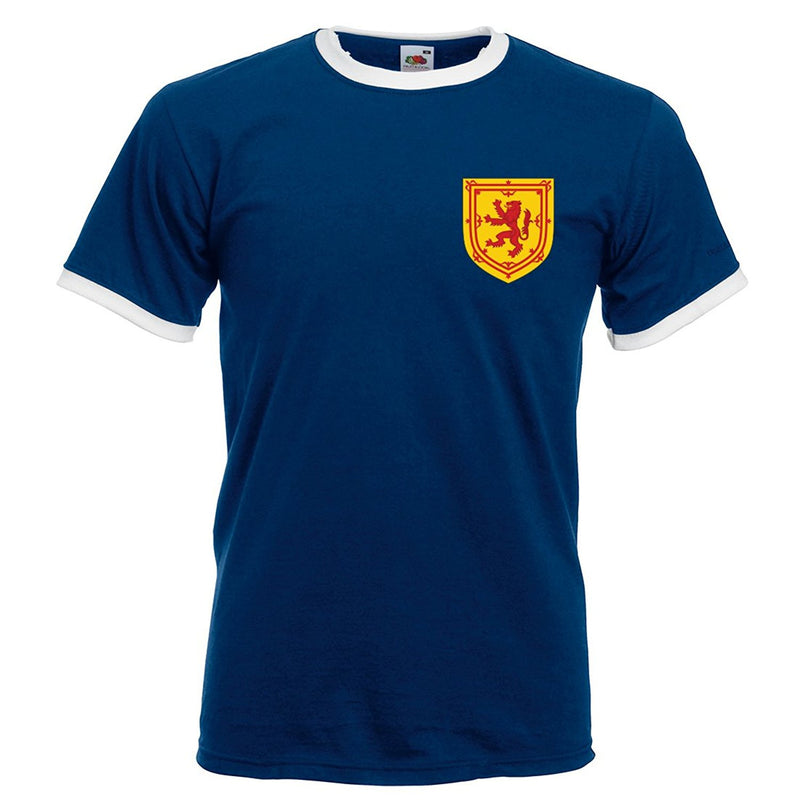 Scotland Scottish Vintage Retro Style Football T-Shirt Men's - Blue Front