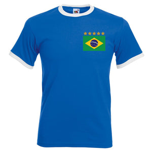 Adults Brazil Brasil Away Pele Embroidered Retro Football T-Shirt Front