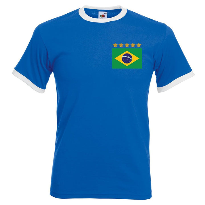 Adults Brazil Brasil Away Embroidered Retro Football T-Shirt - Front