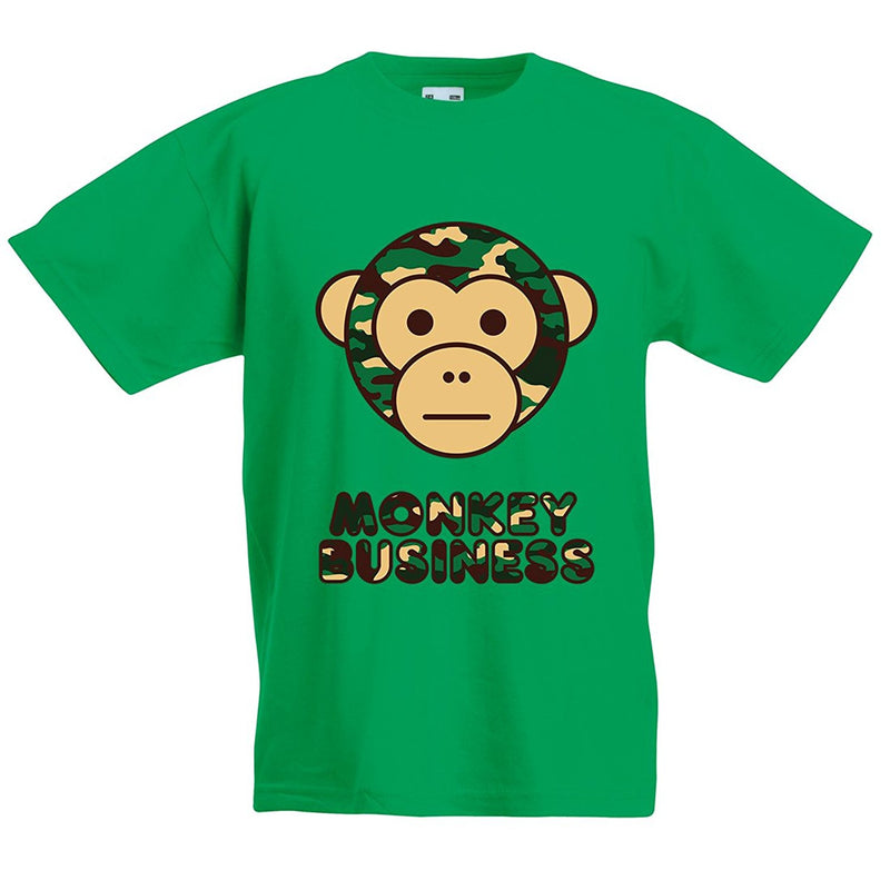 Kids Ape Camo Monkey Business T-Shirt - Green
