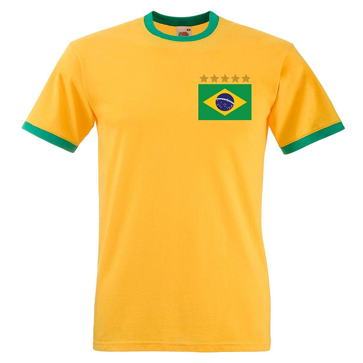 Adults Brazil Brasil Home Pele Embroidered Retro Football T-Shirt Front