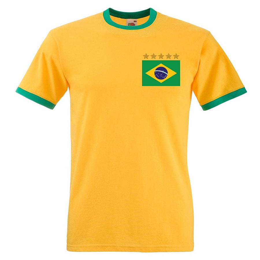 Adults Brazil Brasil Home Embroidered Retro Football T-Shirt Front