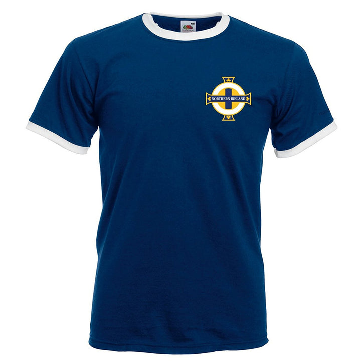 George Best Northern Ireland Unofficial Vintage Retro Football Sport Shirt in Men's Sizes - Navy Blue Front