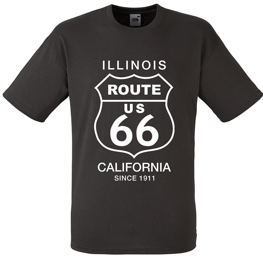 Mens route 66 sign American T-shirt