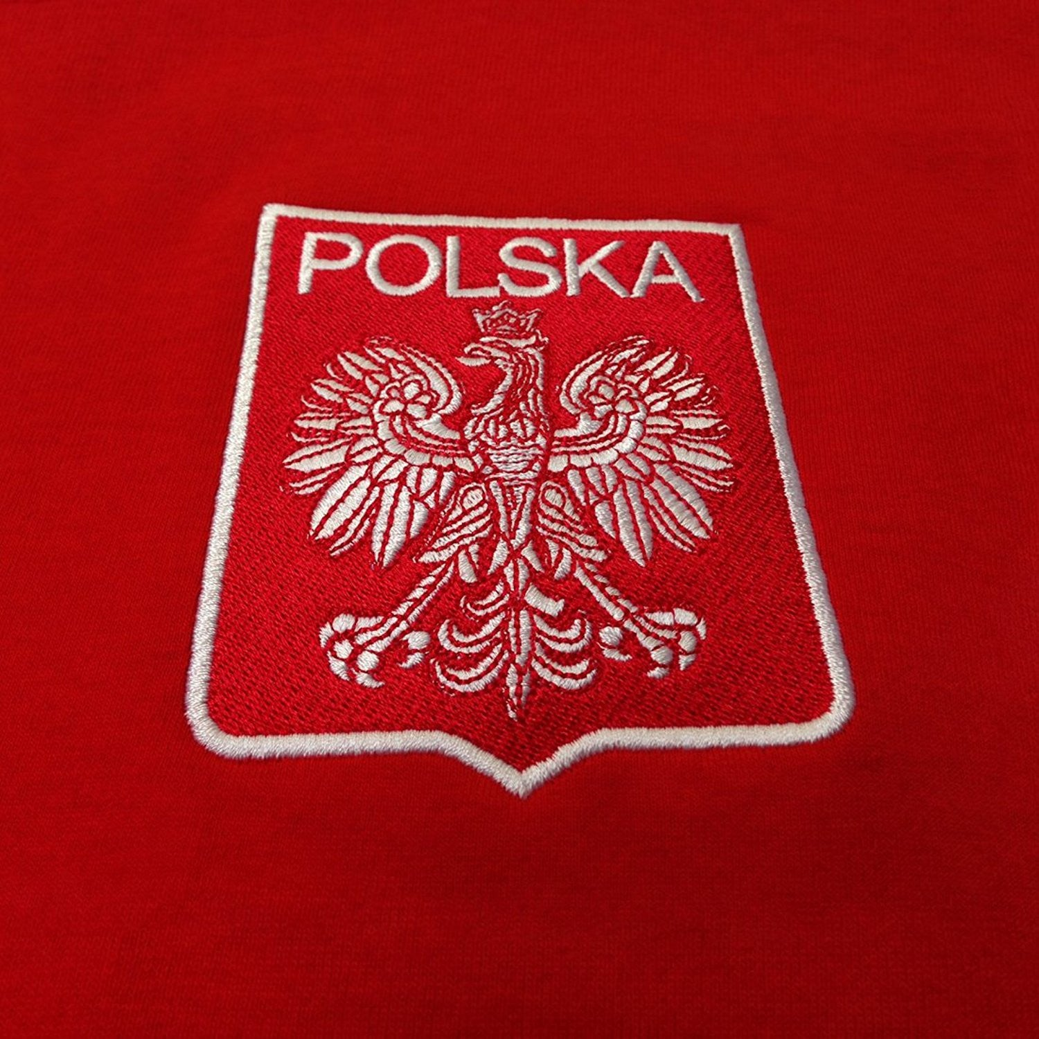 Adults Poland Polska Lewandowski Embroidered Retro Football T-Shirt with Free Personalisation - Red / White 7a4e0CUP