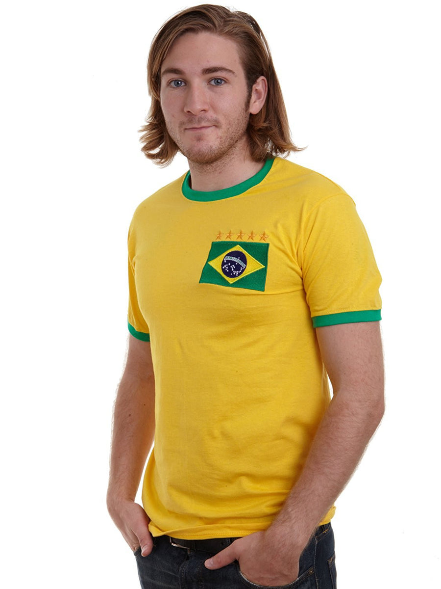 Adults Brazil Brasil Home Pele Embroidered Retro Football T-Shirt Front Life Style