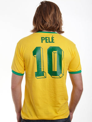 Adults Brazil Brasil Home Pele Embroidered Retro Football T-Shirt Life Style Back