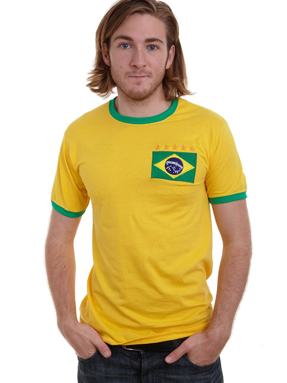 877babde4ea ... Back · Adults Brazil Brasil Home Embroidered Retro Football T-Shirt  Life Style Front ...