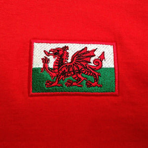Adults Wales Welsh Cymru Embroidered Retro Football T-Shirt Badge