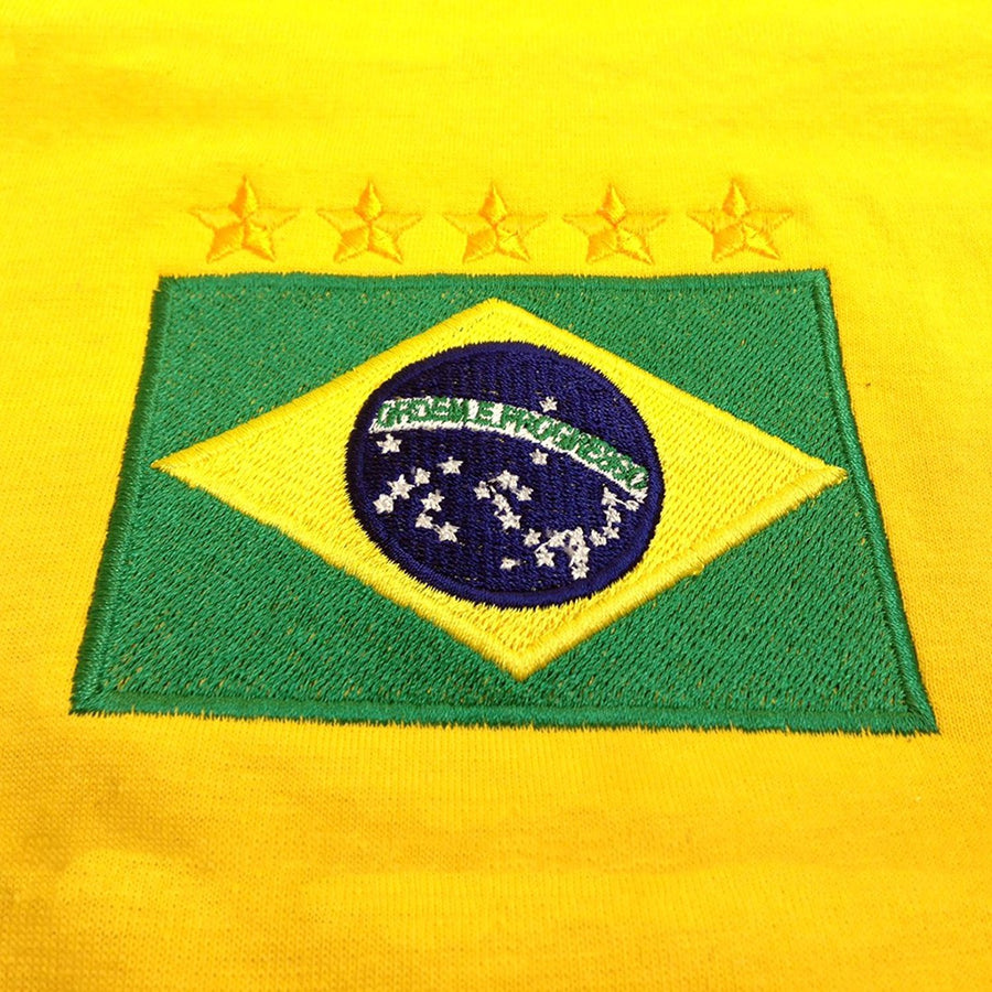 Adults Brazil Brasil Home Pele Embroidered Retro Football T-Shirt Badge
