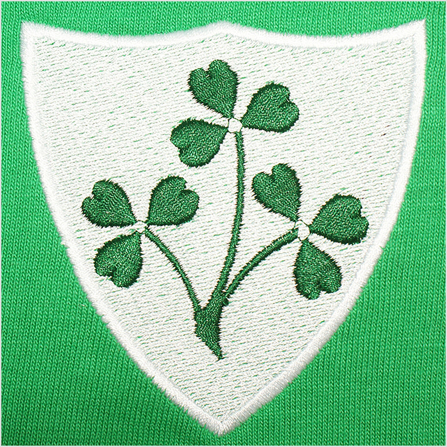 Ireland Irish Vintage Retro Embroidered Long Sleeve Rugby Football Sport Shirt in Adults & Kids Sizes with Free Personalisation - Green Badge