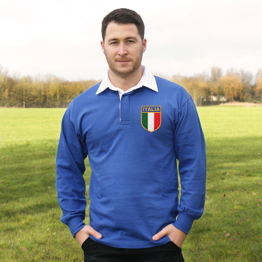 Italy Italia Vintage Retro Embroidered Long Sleeve Rugby Football Sport Shirt in Adults & Kids Sizes with Free Personalisation - Royal Blue Life Style
