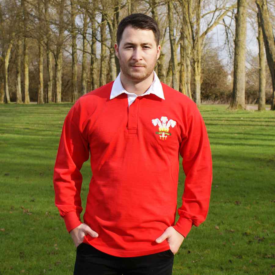 Wales Welsh Vintage Retro Embroidered Long Sleeve Rugby Football Sport Shirt in Adults & Kids Sizes with Free Personalisation - Red Life Style
