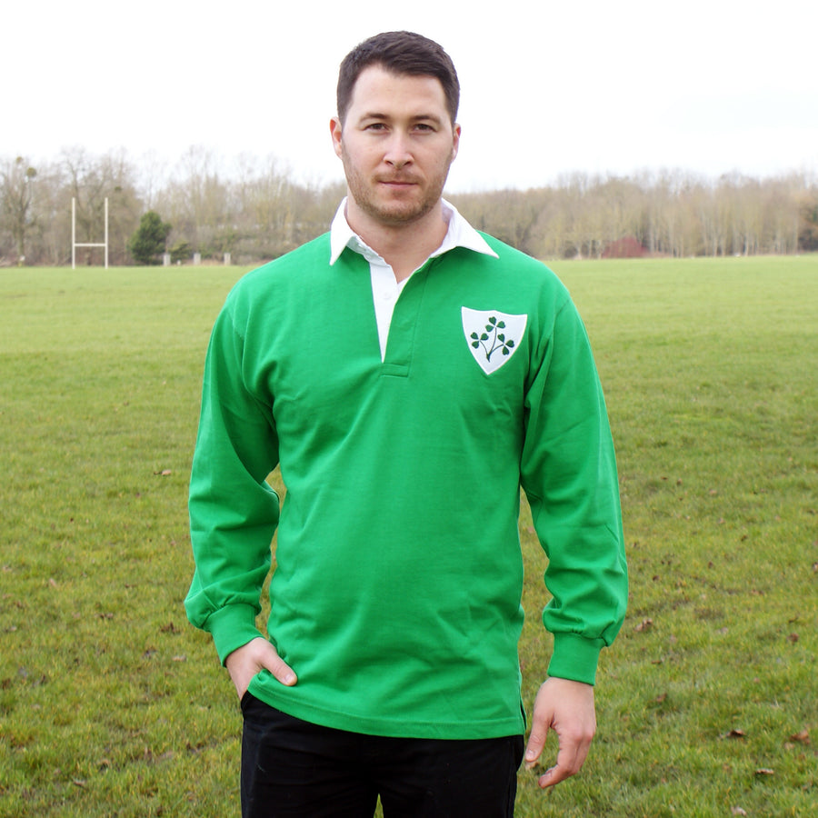 Ireland Irish Vintage Retro Embroidered Long Sleeve Rugby Football Sport Shirt in Adults & Kids Sizes with Free Personalisation - Green Life Style
