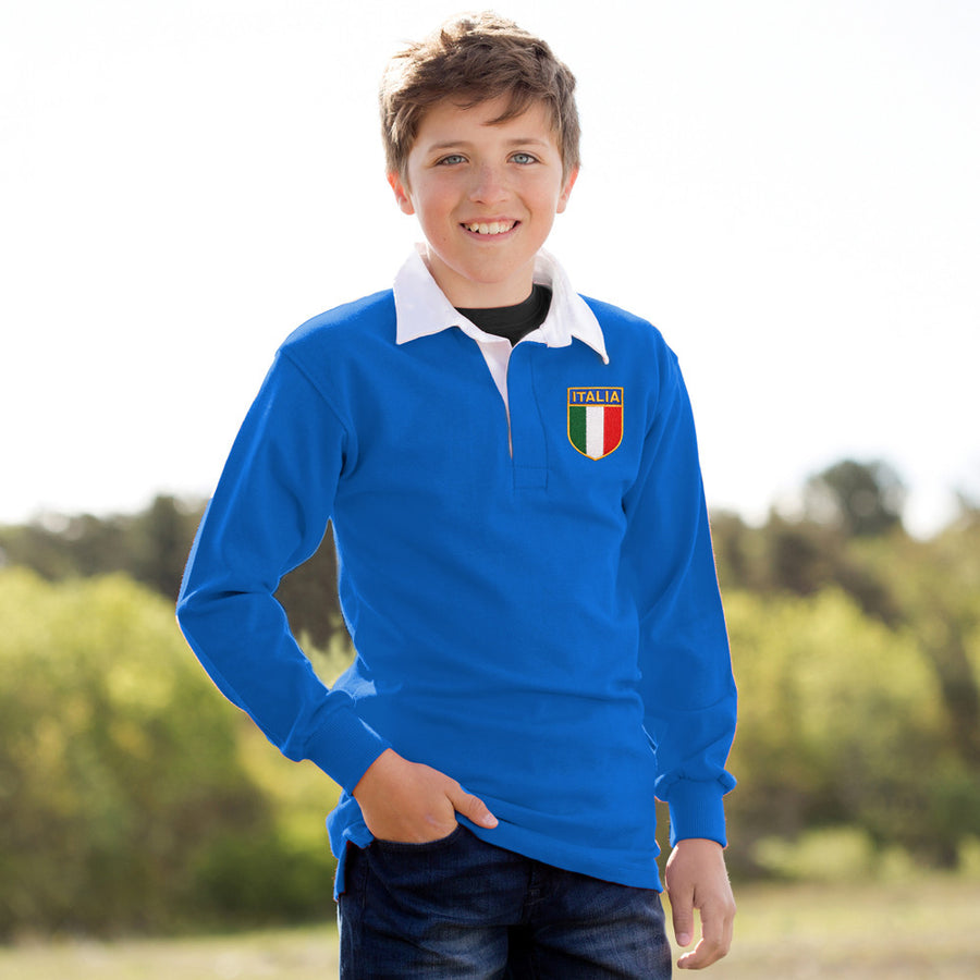 Kids Italy Italia Vintage Long Sleeve Rugby Shirt with Free Personalisation - Royal white