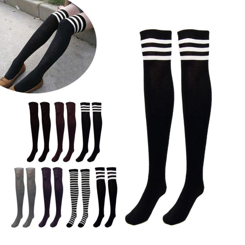Women / girl Over the Knee Socks  Thick  Like Stockings Striped solid color