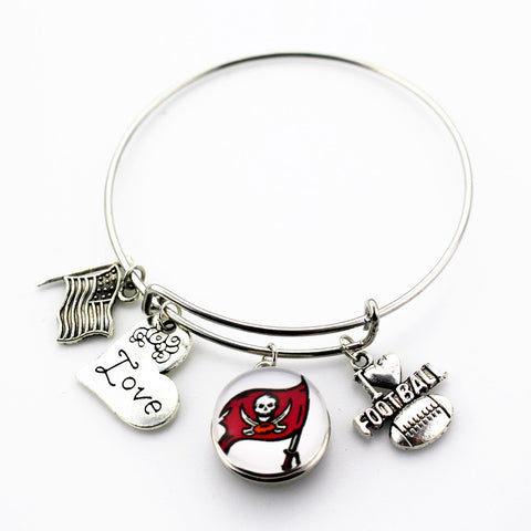 Tampa Bay Buccaneers NFL Team snap bracelet  expandable adjustable wire hook bangles