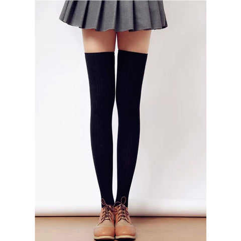 Womens Cotton Over Knee Thigh  High Socks 8 Colors