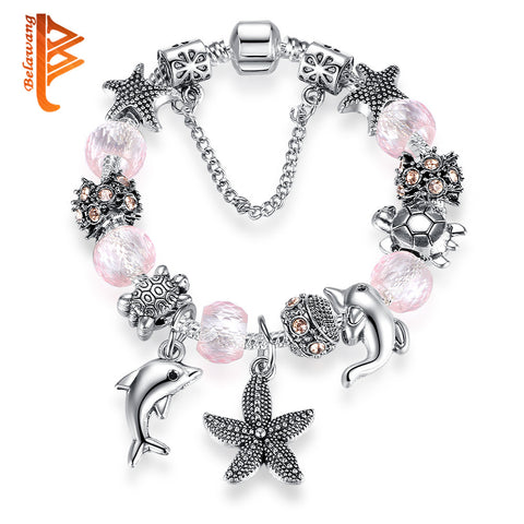 New Lovely Pink Murano Glass Dolphin, Starfish Beaded Bracelet For Women