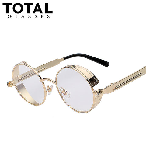 TOTAL Gothic Sunglasses Men Steampunk Round Metal Frame Sun Glasses Pink Mirror Eyewear Brand Designer High Quality UV400
