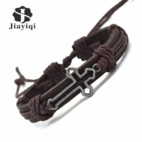 New Genuine Leather unisex  Bracelet  Hollow Cross Charm