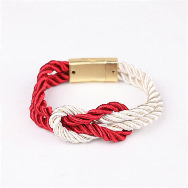 2017 braided rope bracelet with a magnetic clasp