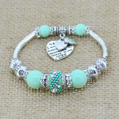 Women's Silver Plated  Heart Charm Bangle  Bracelet Glass Beads