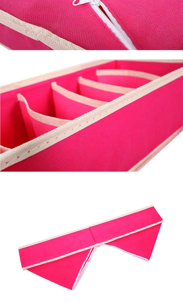 4 pcs/Set Foldable Divider Storage Bra,Necktie, Sock Box Non-woven Fabric